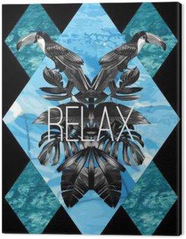 Tukan, liście graficzne i błękitne morze lustro druku