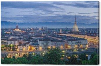 Obraz na Płótnie Turyn (Torino), panorama o zmierzchu wysokiej rozdzielczości