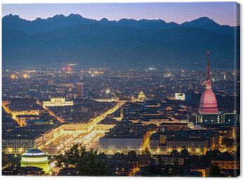Obraz na Płótnie Turyn (Torino), panorama w nocy