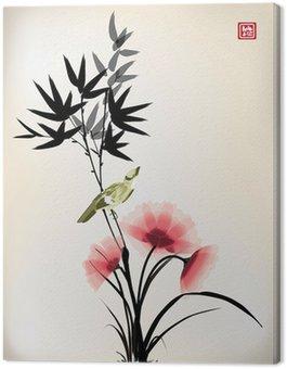 Tusz chiński styl kwiat ptak rysunek