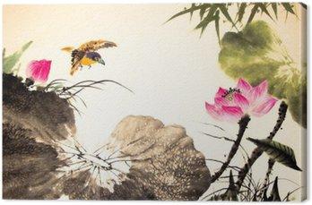 Obraz na Płótnie Tusz lotosu malowanie ręcznie rysowane