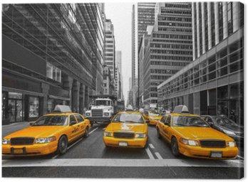 Tyellow taksówki w Nowym Jorku, USA.