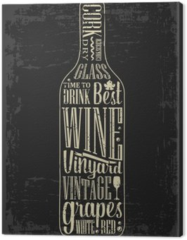 Obraz na Płótnie Typografia plakat napis tekst w butelce wina sylwetki. Vintage grawerowanie ilustracji wektorowych. projektowanie reklamowe do pubu na ciemnym tle