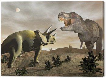 Obraz na Płótnie Tyrannosaurus rycząc na Triceratops - 3D render