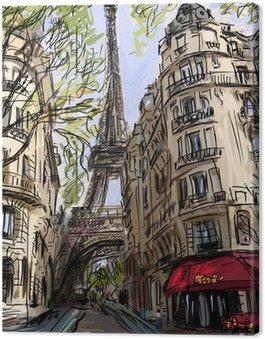 Obraz na Płótnie Ulica w Paryżu - ilustracja