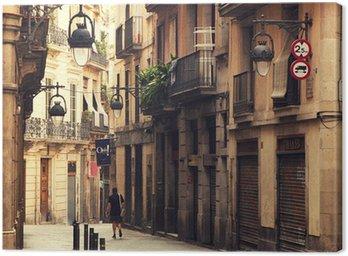 Obraz na Płótnie Ulicy w Dzielnicy Gotyckiej w Barcelonie.