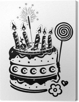 Obraz na Płótnie Urodziny, ciasto, ciasto, urodziny, wektor, czarny