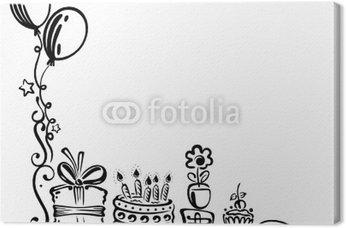 Obraz na Płótnie Urodziny, tort, prezenty, urodziny, zwinny, czarny