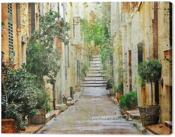 Obraz na Płótnie Urokliwe uliczki śródziemnomorskich, artystyczny obraz