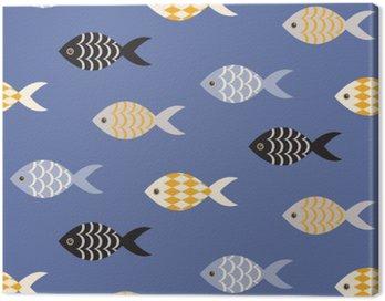 Vector czarne i białe ryby szwu. Szkoła ryby w rzędach na błękitnym oceanie wzorca. Lato motywu morskich.