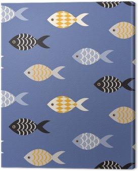 Obraz na Płótnie Vector czarne i białe ryby szwu. Szkoła ryby w rzędach na błękitnym oceanie wzorca. Lato motywu morskich.
