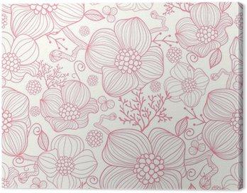 Obraz na Płótnie Vector czerwone kwiaty line art elegancki bezszwowe tło wzór