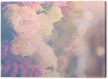 Obraz na Płótnie Vintage carnetion i róża bukiet kwiatów miękkie tło