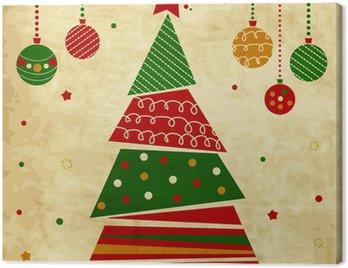 Obraz na Płótnie Vintage Christmas karty z drzewa i ozdoby, karta xmas