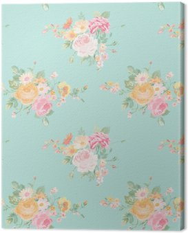 Vintage Flowers Background - Seamless Floral Shabby Chic Wzór