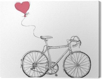 Obraz na Płótnie Vintage ilustracja walentynki z rowerów i Serca balonem