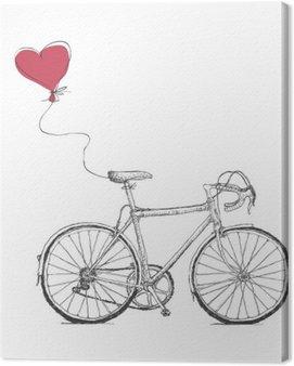 Vintage ilustracja walentynki z rowerów i Serca balonem