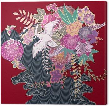 Obraz na Płótnie Vintage kimono z motywem kwiatów