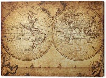 Obraz na Płótnie Vintage, mapa świata 1733