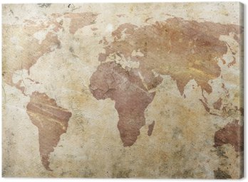 Obraz na Płótnie Vintage, mapa świata