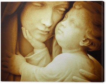 Vintage obraz Najświętszej Marii Panny niosący Dzieciątka Jezus
