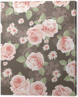 Obraz na Płótnie Vintage, róże na koronki bez szwu tła