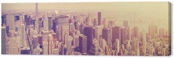 Obraz na Płótnie Vintage stonowanych Manhattan Skyline o zachodzie słońca, NYC, USA.