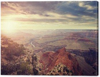 Obraz na Płótnie Vintage stonowanych słońca nad Grand Canyon, jeden z najważniejszych atrakcji turystycznych w Stanach Zjednoczonych.