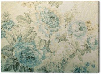 Obraz na Płótnie Vintage tapety z niebieskim wzorem kwiatowym wiktoria