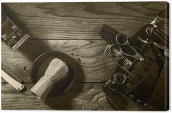 Obraz na Płótnie Vintage zestaw Barbershop.Toning sepii