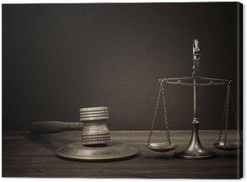 Obraz na Płótnie Wagi prawa, sędzia młotek na stole. Symbol sprawiedliwości