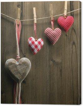 Obraz na Płótnie Walentynkowe serca Dzień tekstylne wiszące na linie