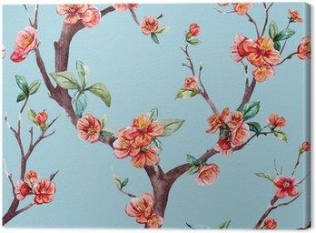 Obraz na Płótnie Watercolor raster sakura pattern