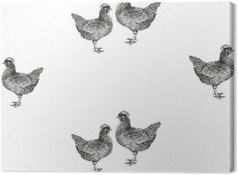 Obraz na Płótnie Wektor bez szwu deseń z kur i piskląt.