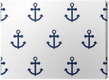 Obraz na Płótnie Wektor bez szwu deseniu z kotwic morskich. Sea motyw kotwicy prosty ciemnoniebieski powtarzania białe tło.