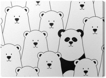 Obraz na Płótnie Wektor bez szwu z białych niedźwiedzi polarnych i panda