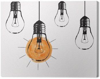 Obraz na Płótnie Wektor ilustracja z wiszącym żarówek i miejsce dla tekstu. Nowoczesne hipster stylu szkic. Unikalny pomysł i koncepcja twórcze myślenie.