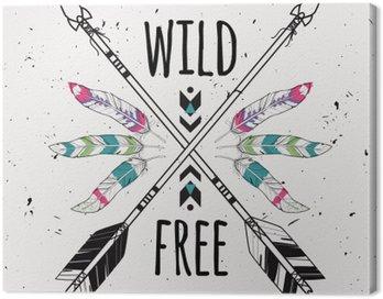 Obraz na Płótnie Wektor ilustracja ze skrzyżowanymi strzałkami etnicznych, piór i plemiennych ozdoba. Boho i styl hippie. Amerykańskie motywy Indyjskim. Wild and Free plakatu.