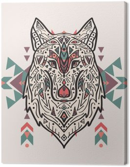 Obraz na Płótnie Wektor kolorowych ilustracji stylu tribal wilka z ornamentami etnicznymi. Amerykańskie motywy Indyjskim. Totem tatuaż. Konstrukcja Boho.