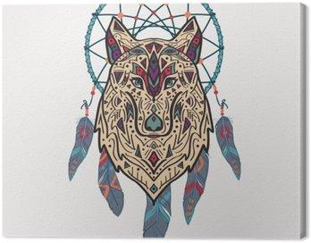 Obraz na Płótnie Wektor kolorowych ilustracji stylu tribal wilka z ozdobami etnicznych i Dream Catcher. Amerykańskie motywy Indyjskim. Totem tatuaż. Konstrukcja Boho.