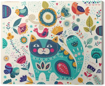 Obraz na Płótnie Wektor kolorowych ilustracji z pięknych kotów, ptaków, motyli i kwiatów