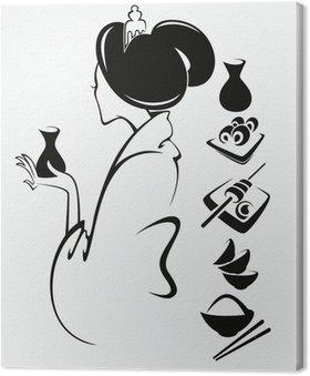 Obraz na Płótnie Wektor obraz japońskiej dziewczyny z tradycyjnej żywności