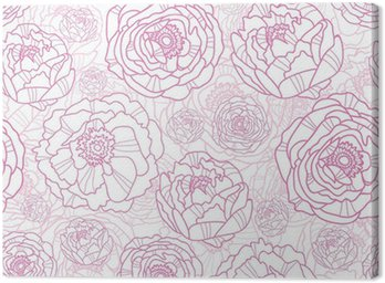 Obraz na Płótnie Wektor różowe kwiaty line art elegancki bezszwowe tło wzór
