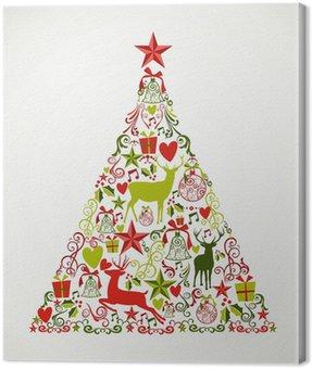 Obraz na Płótnie Wesołych Świąt kształt drzewa pełne elementów kompozycji EPS10 fi