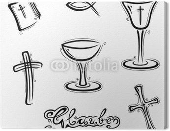 Obraz na Płótnie Wiara, modlitwa, kościół, wektor zestaw