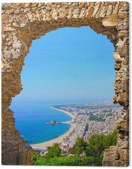 Obraz na Płótnie Widok hiszpańskiej plaży ośrodek miasta Blanes. Costa Brava, Hiszpania