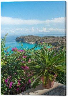 Obraz na Płótnie Widok na morze z tarasu kwiat