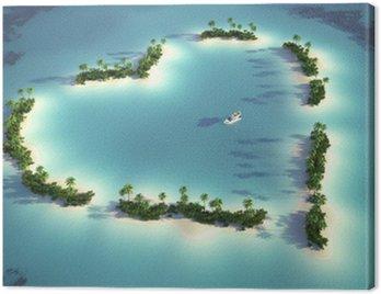 Obraz na Płótnie Widok z lotu ptaka wyspa w kształcie serca
