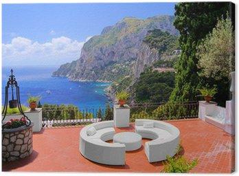 Obraz na Płótnie Widok z luksusowym tarasie na wyspie Capri, Włochy