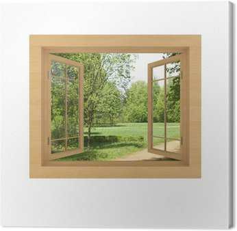 Obraz na Płótnie Widok z okna odizolowane na białym